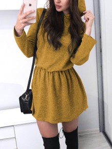 Yellow Draped Hooded Long Sleeve A-Line Elegant Mini Dress
