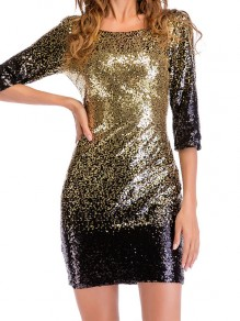 Golden Sequin Glitter Sparkly Round Neck Bodycon Elegant Mini Dress