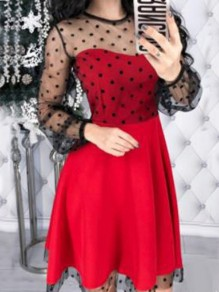 Red Patchwork Grenadine Round Neck Long Sleeve A-Line Elegant Mini Dress