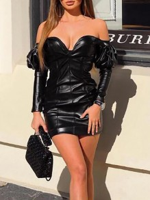 Black V-neck Off Shoulder Long Puff Sleeve Hip Bodycon PU Leather Vinyl Mini Dress