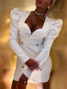 White Double Breasted V-neck Long Puff Sleeve 70S Hip Bodycon Mini Dress