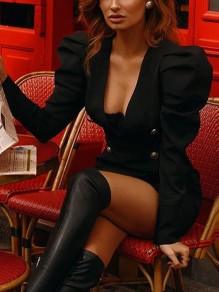 Black Double Breasted V-neck Long Puff Sleeve 70S Hip Bodycon Mini Dress