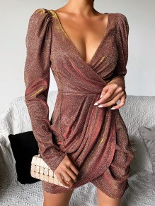 Brown Sequin V-neck Puff Sleeve Hip Bodycon 70S Ruched Mini Dress