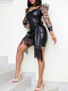 Black Patchwork Leopard Grenadine Print Sequin Tassel V-neck Puff Sleeve PU Leather Mini Dress
