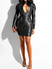 Black Sequin Cut Out Band Collar Sparkly Glitter Wedding Banquet Party Mini Dress