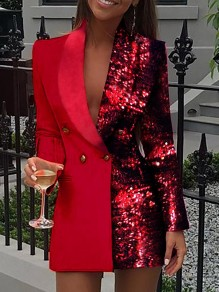 Red Patchwork Sequin Turndown Collar Double Breasted Long Sleeve Blazer Mini Dress