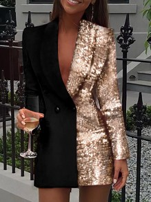 Golden Patchwork Sequin Turndown Collar Double Breasted Long Sleeve Blazer Mini Dress