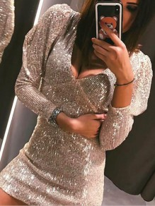 Silver Sequin Puff Sleeve Deep V-neck Sparkly Glitter Banquet Valentine's Day Party Mini Dress