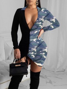 Blue Camouflage Pattern Irregular Drawstring Deep V-neck Bodycon Mini Dress