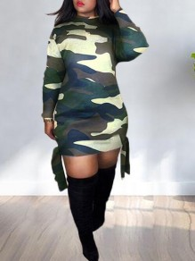 Army Green Camouflage Pattern Tassel Bodycon Clubwear Party Mini Dress