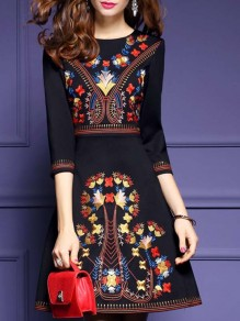 Black Patchwork Mexico Embroidered Print Round Neck Long Sleeve Work Mini Dress