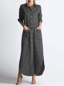Black Striped Buttons Pockets Band Collar Long Sleeve Casual Fashion Maxi Dress