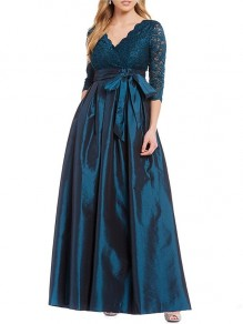Navy Blue Lace Cut Out V-neck Three Quarter Length Sleeve Fashion Maxi Dresses