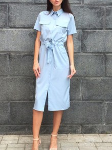 Light Blue Pockets Sashes Bow Short Sleeve Slit Fashion Maxi Dress