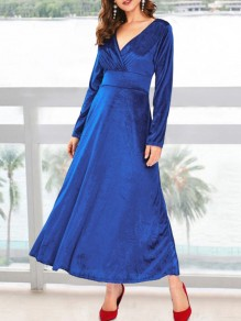 Sapphire Blue Pleuche Draped V-neck Long Sleeve Elegant Prom Maxi Dress