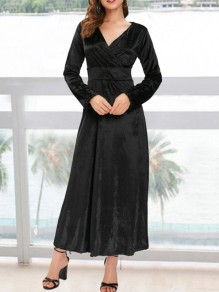 Black Pleuche Draped V-neck Long Sleeve Elegant Maxi Dress