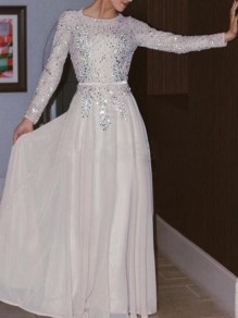White Patchwork Rhinestone Big Swing Glitter Sparkly Fashion Maxi Dress