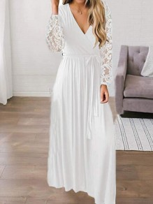 White Patchwork Lace Sashes Deep V-neck Floor Length Banquet Party Maxi Dress
