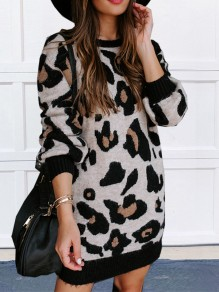 White Leopard Print Round Neck Long Sleeve Casual Mini Sweater Dresses
