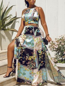 Light Blue Flowers Print Slit Halter Neck Big Swing Fashion Two-Piece Dress