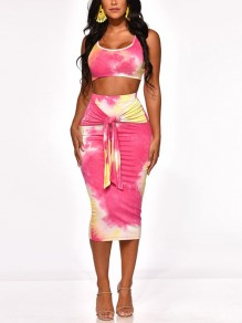 Pink Tie Dye Knot Bodycon Scoop Neck Club Crop Fashion Two-Piece Dress