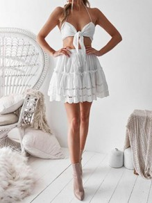 White Midriff Knot Ruffle Halter Neck Backless Fashion Two-Piece Dress