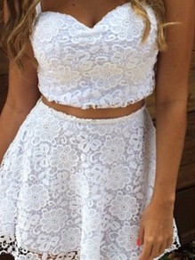 White Lace Sleeveless Fashion Two-Piece Dress