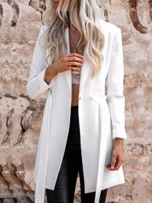 White Pockets Buttons Sashes Tailored Collar Long Sleeve Fashion Suit