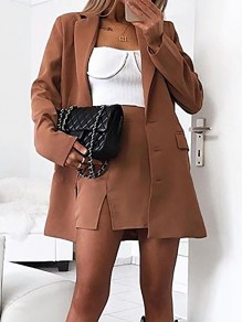 Khaki Pockets Single Breasted Tailored Collar Long Sleeve Fashion Suit