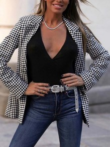 Black Plaid Buttons Band Collar Long Sleeve Fashion Suits