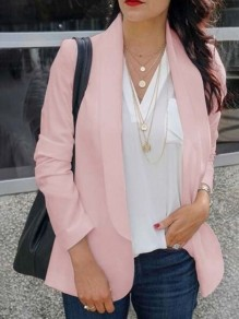 Pink Shawl Collar Long Sleeve Fashion Suits
