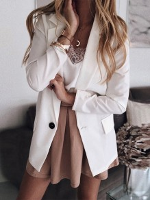 White Patchwork Single Breasted V-neck Long Sleeve Fashion Outerwears