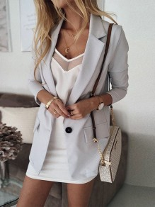 Grey Patchwork Single Breasted V-neck Long Sleeve Fashion Outerwears
