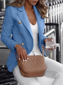 Blue Bandeau Fashion Sweet Comfy V-neck Long Sleeve Blazer
