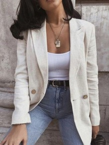 White Patchwork Buttons Turndown Collar Long Sleeve Fashion Suit