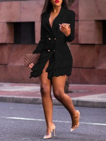 Black Patchwork Tassel Double Breasted Tailored Collar Long Sleeve Work Suit Blazer Mini Dress
