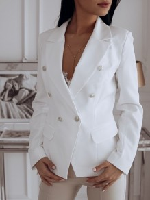 White Double Breasted Pockets Tailored Collar Long Sleeve Work Suit