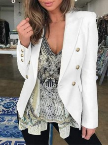White Patchwork Buttons Pockets Turndown Collar Long Sleeve Fashion Suit