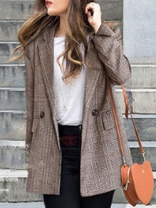 Coffee Patchwork Buttons Pockets Turndown Collar Long Sleeve Fashion Suit