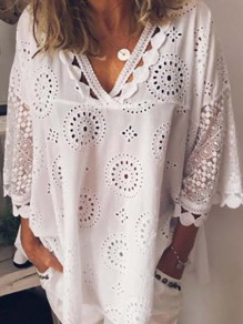White Floral Cut Out Lace Plus Size Going out Blouse