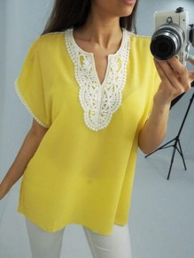 Yellow Patchwork Lace Tassel V-neck Fashion Blouse