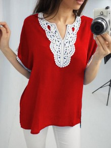 Wine Red Patchwork Lace Tassel V-neck Fashion Blouse