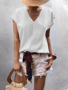 White Backless Chiffon V-neck Short Sleeve Fashion Going out Blouse