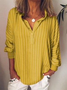 Yellow Striped Print Buttons V-neck Dolman Sleeve Fashion Blouse