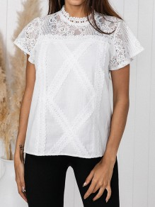 White Patchwork Lace Buttons Band Collar Short Sleeve Going out Blouse