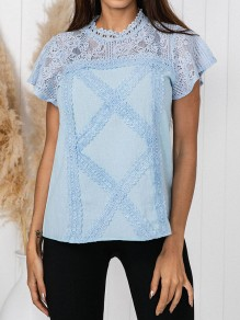 Blue Patchwork Lace Buttons Band Collar Short Sleeve Going out Blouse
