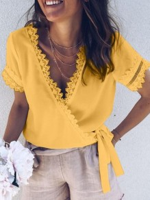 Yellow Patchwork Lace Bow V-neck Short Sleeve Going out Blouse