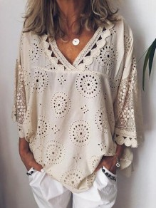 Beige Patchwork Lace V-neck 3/4 Sleeve Fashion Going out Blouse