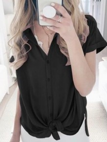 Black Single Breasted Knot V-neck Short Sleeve Going out Blouse