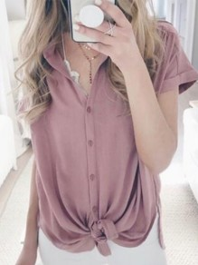 Pink Single Breasted Knot V-neck Short Sleeve Going out Blouse